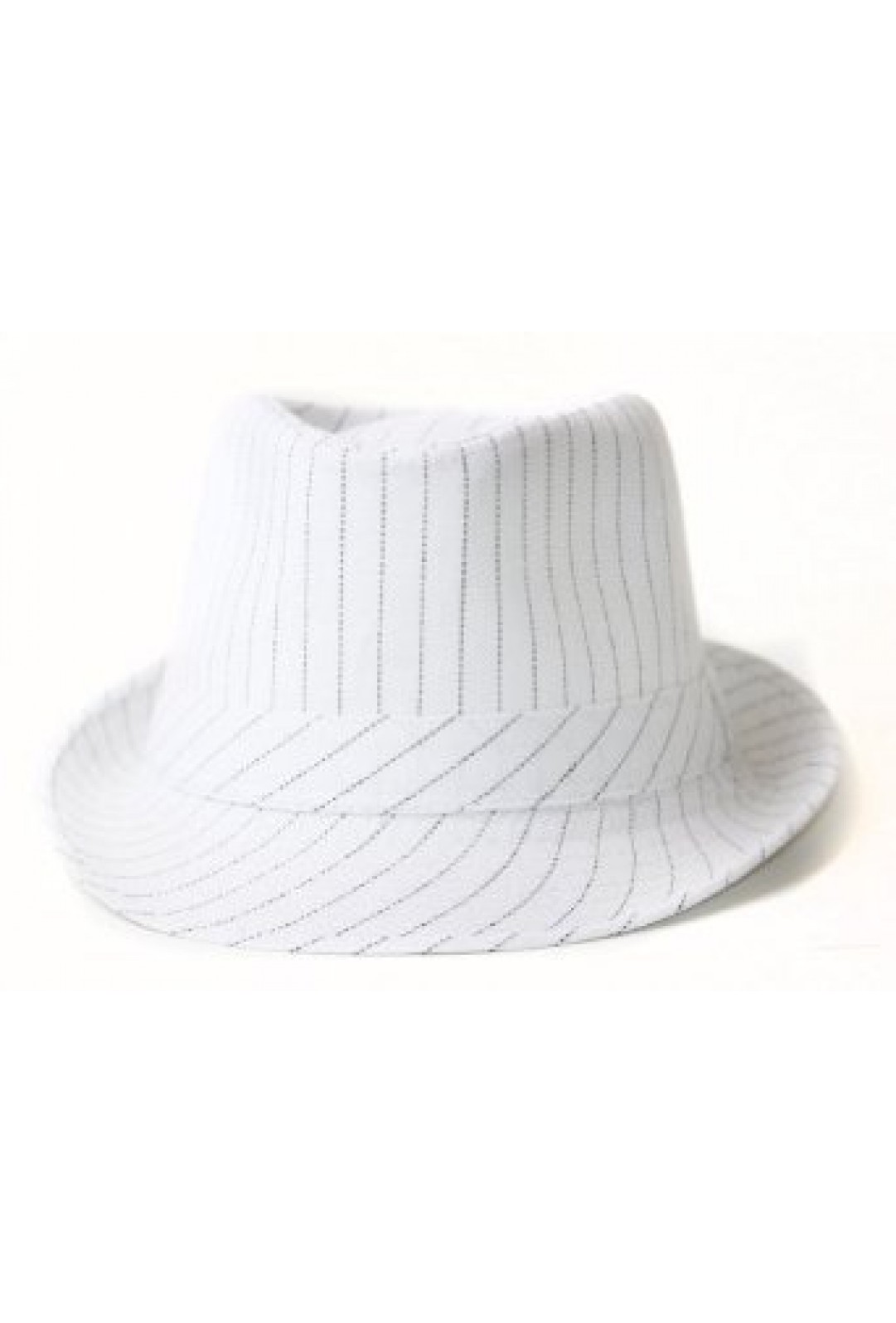 ADULT BLACK AND WHITE PINSTRIPED GANGSTER FEDORA HAT ONE SIZE FITS