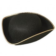 Black Tricorn Colonial Hat with Gold Trim 1523