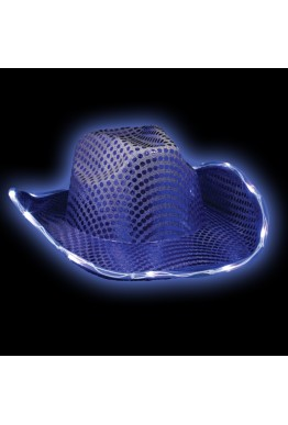 Flashing LED Sequin Cowboy Hat