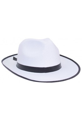 Gangster Hat White Wide Brim Felt Fedora